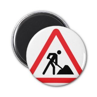 construction worker building site sign magnet