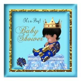 African American Baby Shower Blue Gold Boy Custom Invitations