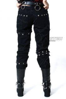 Gothic Punk Unisex Dry Crack Patch Denim Jeans Pants Metal Stud Frayed