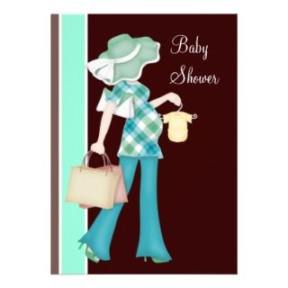 Mint Green Chocolate Brown Baby Shower Personalized Invite