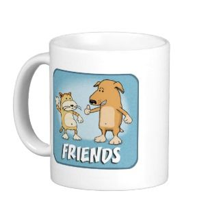 Cute coffee mug Cat and Dog Friends