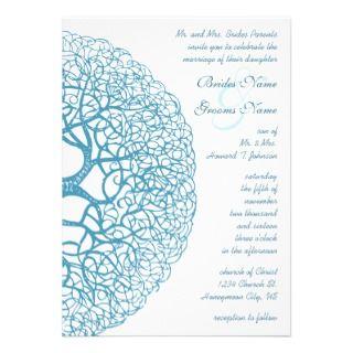 Aqua Circle of Love Tree Wedding Invitation