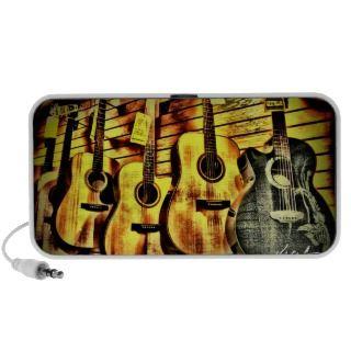 Wood Grain Acoustic Guitars iPhone Speakers