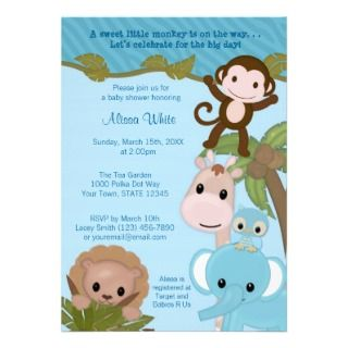 Sweet Jungle Babies Baby Shower Invitation blue