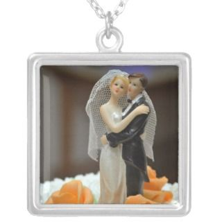Bride and groom wedding cake topper pendant