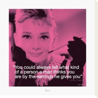 Audrey Hepburn Earrings Stretched Canvas Print