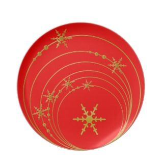 Red & Gold Star Snowflakes Christmas Plate plates by DizzyDebbie
