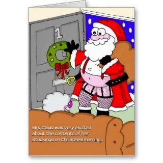 Rude Christmas Card   Santa in Stockings