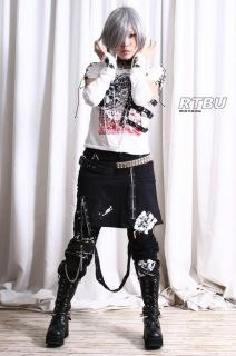 Gothic Punk Metal Applique PVC Strap Shirt+Arm Warmer Thick Jersey