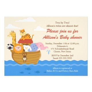 TWINS! Noahs Ark Boy or Girl Baby Shower Invitations