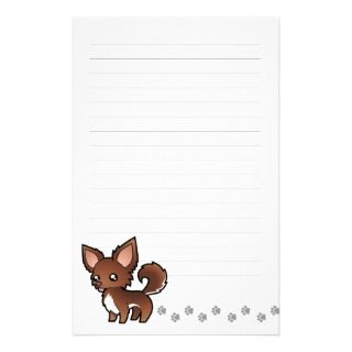 Cartoon Chihuahua (chocolate and white long coat) stationery by