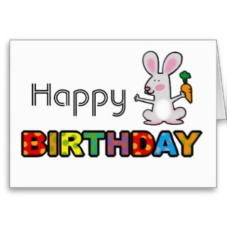 cute rabbit happy birthday card