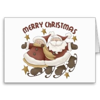 This cute Christmas graphic features Mr. and Mrs. Santa Claus happily