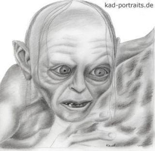 Herr der Ringe   Gollum *Zeichnung / Druck *Geschenkidee #372