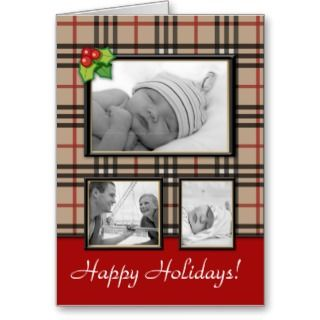 Christmas Greeting Card Beige Plaid Template 3