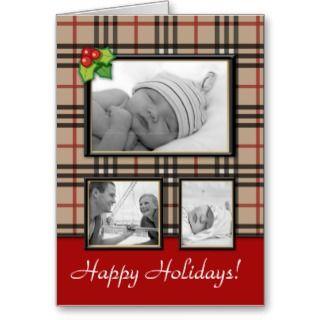 Christmas Greeting Card Beige Plaid Template 3