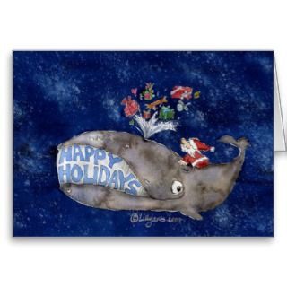 Whale Christmas Happy Holidays Card