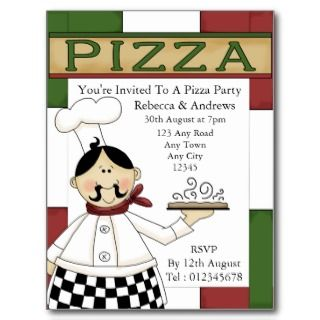 pizza party invitations and postage pasta party also available in