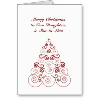 Christmas, daughter & son in law, red & white tree greeting cards