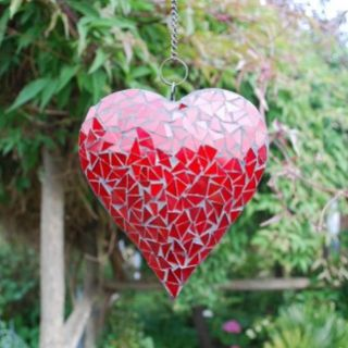 HANGING RED MIRROR MOSAIC HEART FOR HOME OR GARDEN NEW FREE P+P