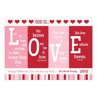 Christian Valentine Card God is LOVE Bible Verse Personalized