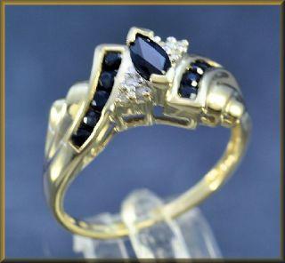 Saphir   Ring mit 6 Diamanten aus 375´er Gold Gr. 57