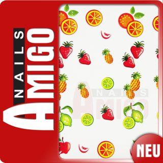 Nailart Sticker   Nail Art Früchte Orange Erdbeer
