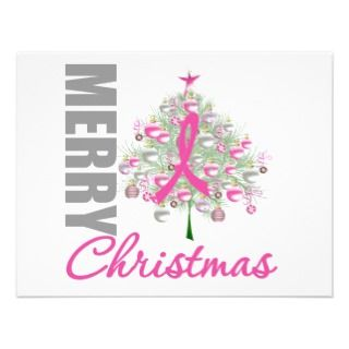 Merry Christmas Breast Cancer Pink Ribbon Wreath Announcements