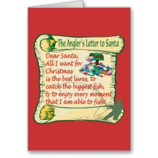 Sport Funny Anglers Letter To Santa Greeting Card