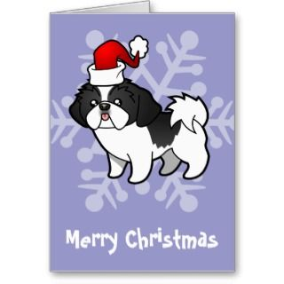 Christmas Shih Tzu (black parti puppy cut) cards by SugarVsSpice