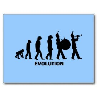 evolution marching band post cards