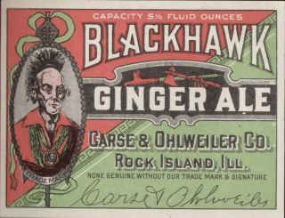 Ginger Ale / Blackhawk Ginger Ale label   ca. 1920 # 402