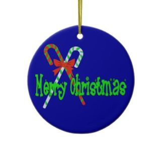 Merry Christmas Candy Canes Christmas Tree Ornaments