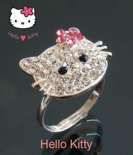 Hello Kitty Ring Strasssteinen super suess einstellbar Versilbert Neu