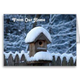 Snowy Bird House   Christmas Greeting Cards