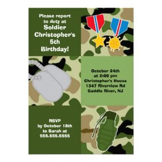 Army Camouflage Soldier Kids Birthday Party Personalized Invitation