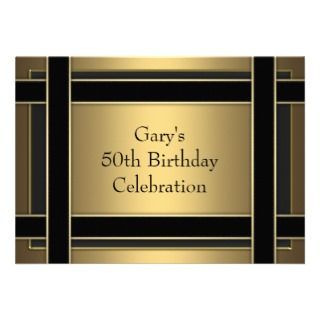 Black Stripe Mans Gold 50th Birthday Party Personalized Invitations