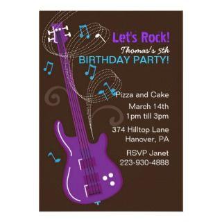 Boys Rock Star Birthday Party Invitations