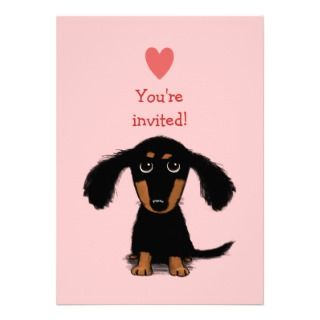 Long Haired Dachshund Puppy Valentines Party Personalized Invitations