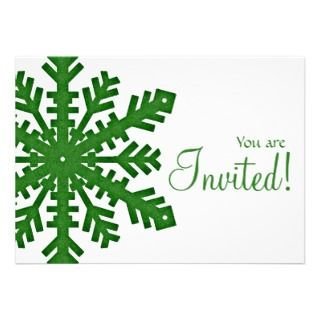 Green2b Snowflake New Year/Dinner Party Invitation