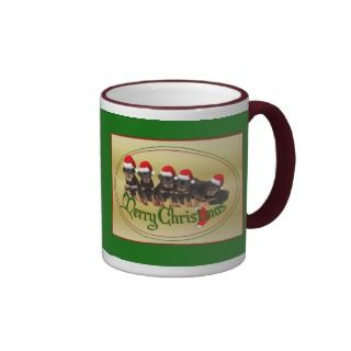 Merry Christmas Rottweiler Puppies Coffee Mug