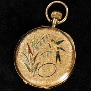 Jugendstil Damen Taschenuhr Floral verziert in 14 Kt Gold pocket watch