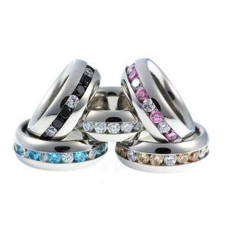 RP011 Damen Ring aus Edelstahl mit Zirkonia Kanal div. Farbauswahl NEU