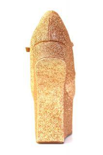 Neu Offener Wedge Plateau Schuhe Lady Gaga Style Champagner 36 37 38