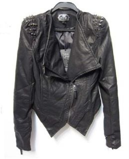 New Punk Strong spike studded shoulder synthetic leather cropped