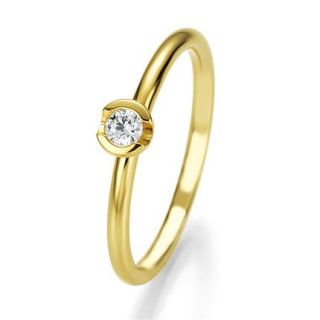 LUXUS Damen Solitär Brillant Ring 750er Gold/Gelbgold & Diamant 0,125
