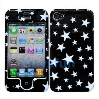New White Stars Black Hard Cover Case Front and Back Skin For Apple