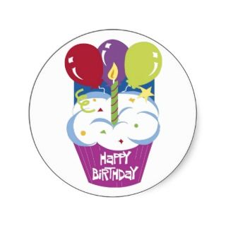 Cupcake Happy Birthday Sticker