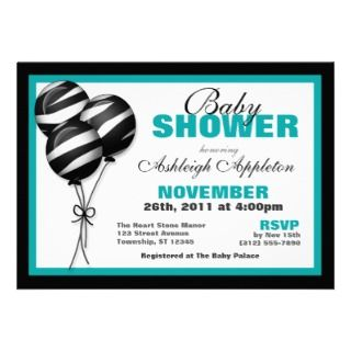 Zebra Print Balloons Teal Baby Shower Invitations