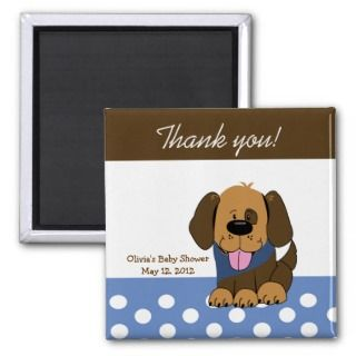 Handsome Brown Puppy Baby Shower Favor Magnet